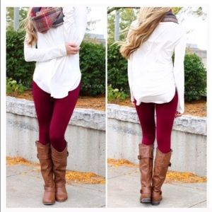 Pants - Coming soon! Maroon leggings fleece lined warm red