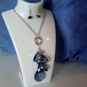 Jewelry - New Silver necklace and earrings with blue stones.