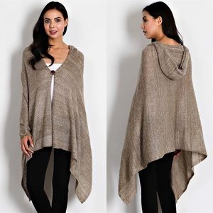  VICKI hooded sweater cape - BLACK, GREY