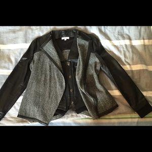 Helmut Lang leather vest tweed leather jacket
