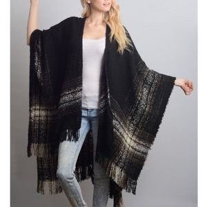 """Autumn Moonlight"" Plaid Print Poncho Wrap Shrug"