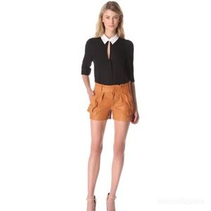 A.L.C. Caramel Cash Leather Shorts