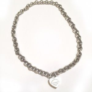 Tiffany & Co chain link necklace and heart locket