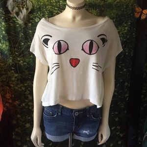 Graphic Kitty Cat Crop Top || XS