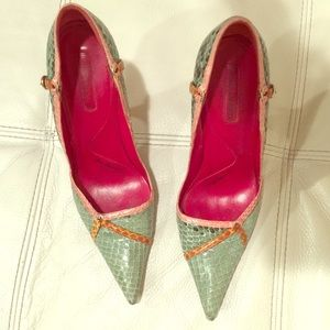 Cesare Paciotti Shoes - Cesare Paciotti green yellow pink snake skin pumps