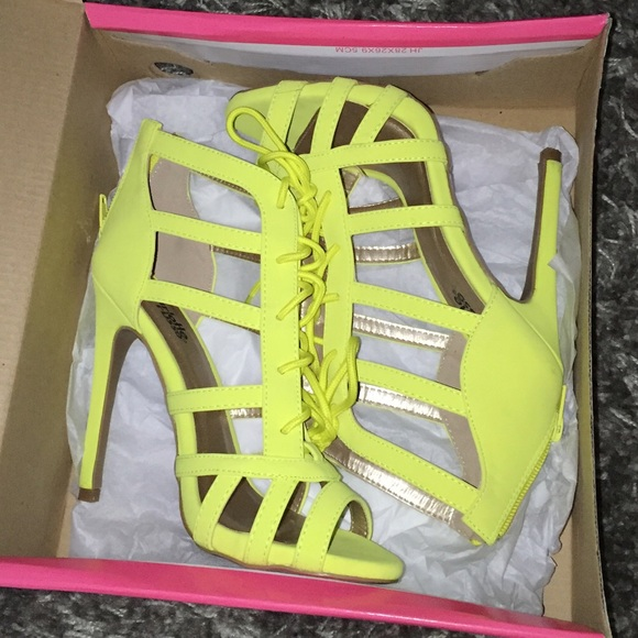 62% off Charlotte Russe Shoes - Cute neon yellow lace up heels