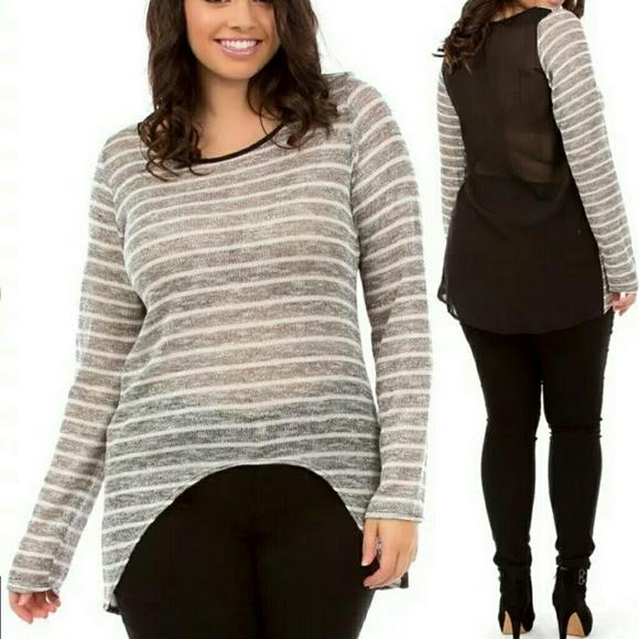 Plus size sheer mesh long sleeves top tunic blouse