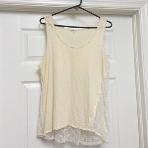 Threads 4 Thought Tops - Cream lace tank top