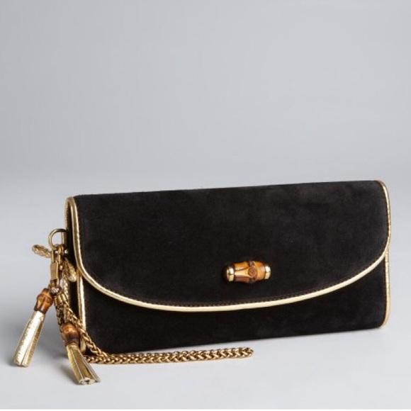 899a0f0c9b77 Gucci Bags | Borsa Bamboo Black Night Suede Clutch Nwt | Poshmark