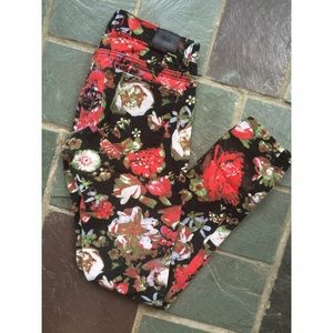 bdg urban outfitters floral skinny jeans 25
