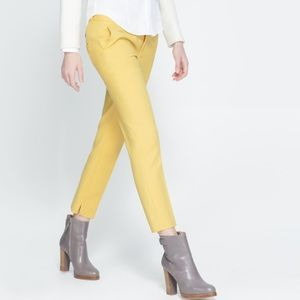 Zara Yellow Straight Cut Trousers