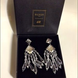 Balmain H&M Chandelier Crystal Statement Earrings