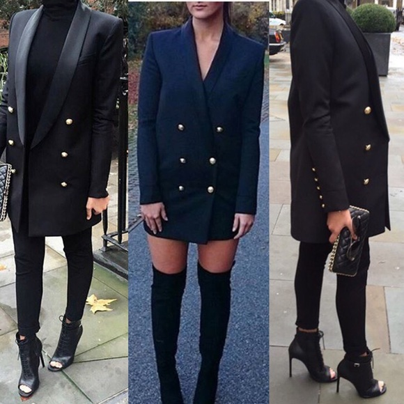 Balmain Hu0026M Long Wool Jacket