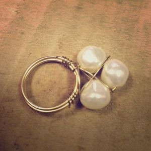 Jewelry - Gold and Pearl wire wrap ring