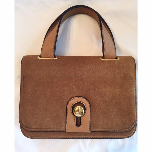 2e864e198b Vintage Gherardini Italy Brown Suede Handbag. M 563bb6ee3c6f9fe4c5000985