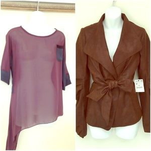 Bundle Zara suede like jacket,/sheer top