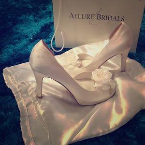 Allure Bridals Shoes - White satin wedding heels💝