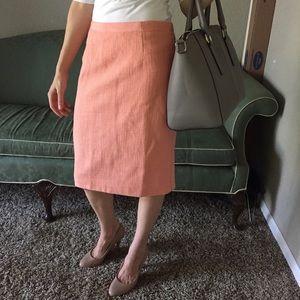 Banana republic coral peach pencil skirt tweed 0