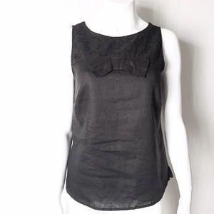 Tops - Linen Black Bow Boxy Sleeveless Top