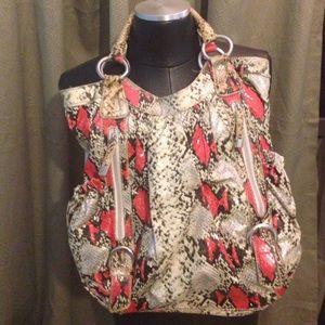 Oversized faux snake skin Bag