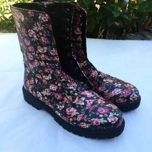 STEVE MADDEN Floral Combat Boots