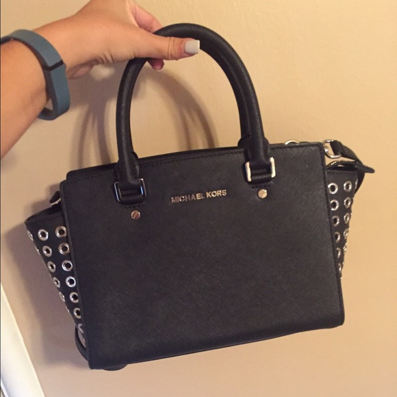 083306b90eb1 Black grommet studded Michael Kors Selma bag. M_563be55e15c8af7532002062