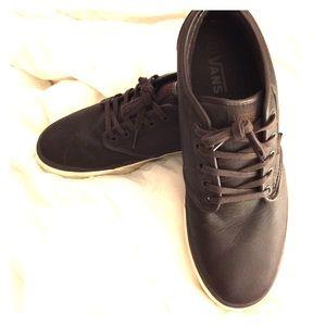 Men's VANS Dark Brown Leather casual skate shoe