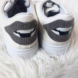 Shoes - White Sneakers with Glittery Lip Bling