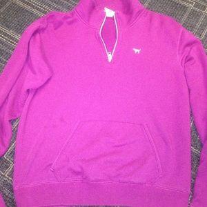 Pink, half zipped sweater!