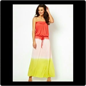 South Beach Strapless ombre maxi dress