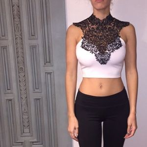 Detailed black and white crop top