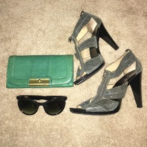 Michael Kors Berkley T Strap Green Grey Heel