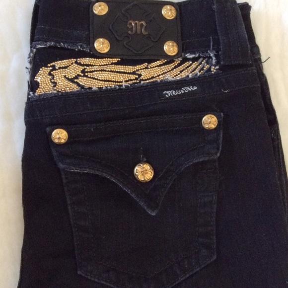 80% off Miss Me Denim - Miss Me Bootcut Black & Gold Jeans Size 30 ...