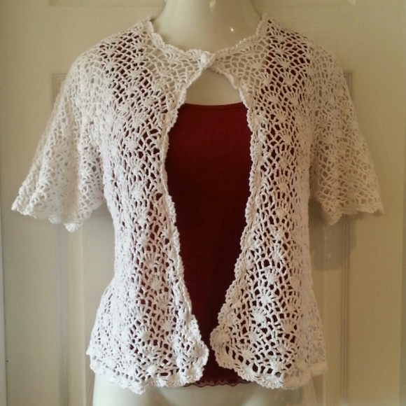 Rk Sweaters Plus Size 2x White Crocheted Cardigan Short Sleeve