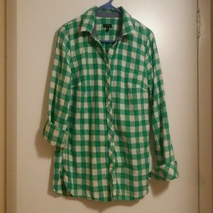 Talbot's Kelly green button down flannel shirt