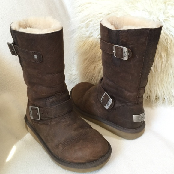 e8f64f93352 UGG Sutter distressed brown leather buckle boots