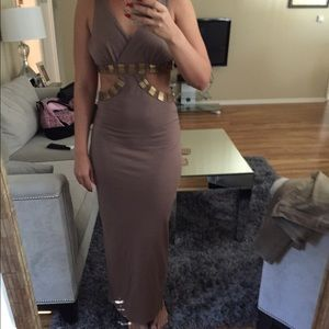 Taupe dress with gold detail