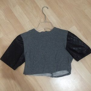 Faux leather sleeves cropped top