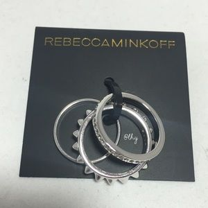 REBECCA MINKOFF 3 BAND STACKING RING SET - SILVER