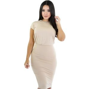 Nude keyhole back bodycon sexy large dress