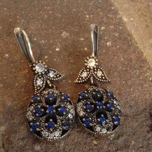 Jewelry - VINTAGE SAPPHIRE WHITE TOPAZ EARRINGS