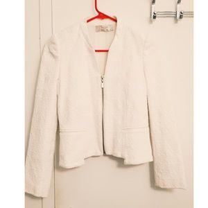 Zara White Brocade Blazer