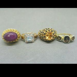 Vermeil sterling gemstone rings
