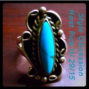 Vintage Jewelry - 🎀Navajo Signed Sterling Marquise Turquoise Ring🎀