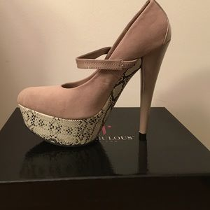 6 inch taupe heels from Just Fab in a size 8.