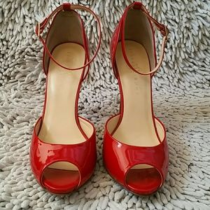 5655cb3b1ef Ivanka Trump Shoes - Red Patent Leather Ankle Strap Peep Toe Pumps