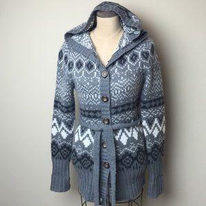 5416b5db6fd7 H&M Sweaters   Hm Nordic Print Hooded Wool Blend Cardigan   Poshmark