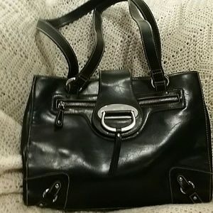 Handbags - BLACK W/ SILVER HANDBAG