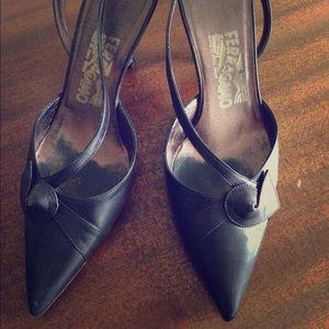 Salvatore Ferragamo black leather kitten heels