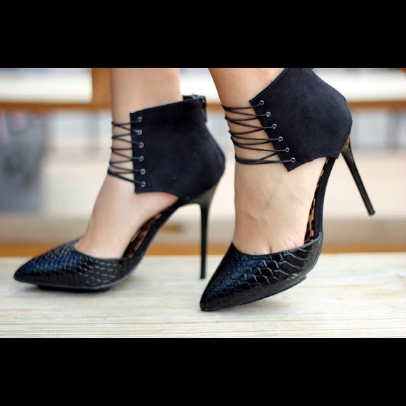 ShoeDazzle Kasia Strappy Lace Up High Heel